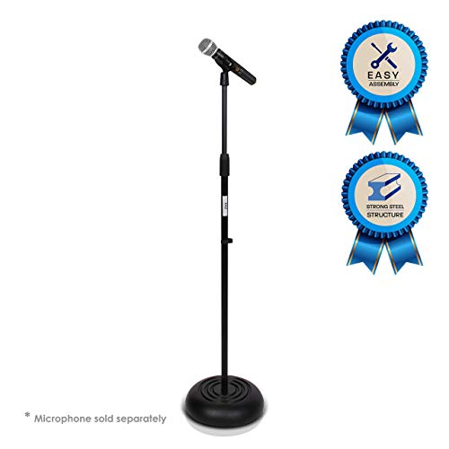 Pyle Microphone Stand - Universal Mic Mount with Heavy Compact Base, Height Adjustable (2.8' - 5' ft.)- PMKS5 (Renewed).