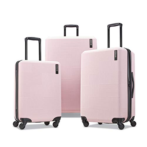 American Tourister Stratum XLT Expandable Hardside Luggage with Spinner Wheels, Pink Blush, 3-Piece Set (20/24/28)
