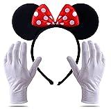 TK Group Timo Klingler 2 en 1 - Disfraz de Minnie Mini Mouse Ears con guantes y orejas de ratón para mujeres en Mardi Gras & Carnival (Juego)