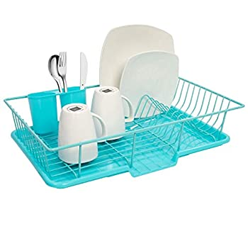 Sweet Home Collection Dish Rack Drainer 3 Piece Set with Drying Board and Utensil Holder 12  x 19  x 5  Turquoise