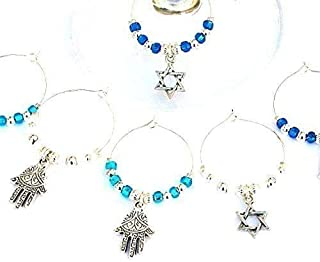 Set of 6 Judaica Wine Glass Charms with Hamsa and Star of David, Hostess Gift for Hanukkah