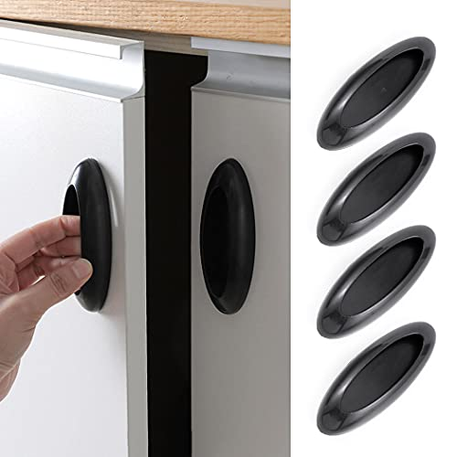 Woeoe Self-Stick Cabinet Handles Helper Black Window Stick on Pulls Auxiliary Self Adhesive Drawer Knobs for Kitchen Furniture Hardware (Pack of 4)