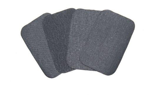 dalipo 05009 - Bügelflicken 4er-Pack, ca. 7,6x4,9cm, dunkelgrau