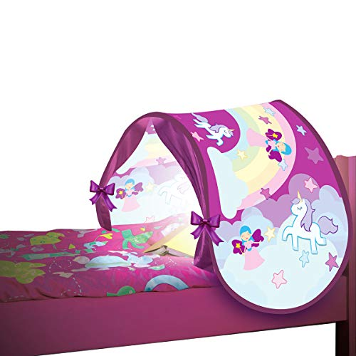 BEST DIRECT Starlyf SleepFun Tent As seen on TV Pop up Bed Tent Playhouse – Dream Bed Tent for Children With lights, Bed Tent Magical World for Girls & Boys (Pink)