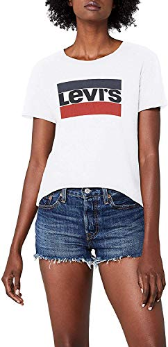 Levis The Perfect Tee, Camiseta para Mujer, Blanco (White 297), Small
