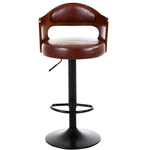 YUTI KuJzu massief houten barkruk, retro rugleuning stoel liftable hoge kruk draaibare kassa cafe stoelen Home barkruk restaurant stoelen 60-80 cm startpagina barkruk