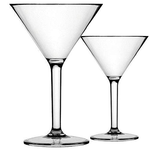 K BASIX Unbreakable Martini Glasses Set of 2 - Polycarbonate - Reusable, 10.2 Ounce - Premium Quality - Gold Series
