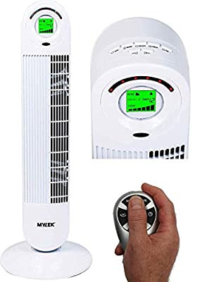 "MYLEK CYCLOPS Oscillating Tower Fan with Remote Control - 6 Speed Settings, 1-12h Timer, Air Cleaning Ioniser, Sleep Mode & Breeze Mode (34"", Silver)"