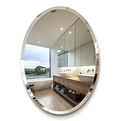 ZHANGHONG Espejo de pared ovalado grande de 60 x 80 cm, sin marco biselado para baño, inodoro, dormitorio, sala de estar, espejo de maquillaje plateado de alta definición,