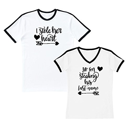 We Match! - Couple Shirts - I Stole Her Heart & So I'm Stealing His Last Name - Matching Couples Soccer Ringer T-Shirt Set (Ladies Large, Mens Medium, White, Black Print)