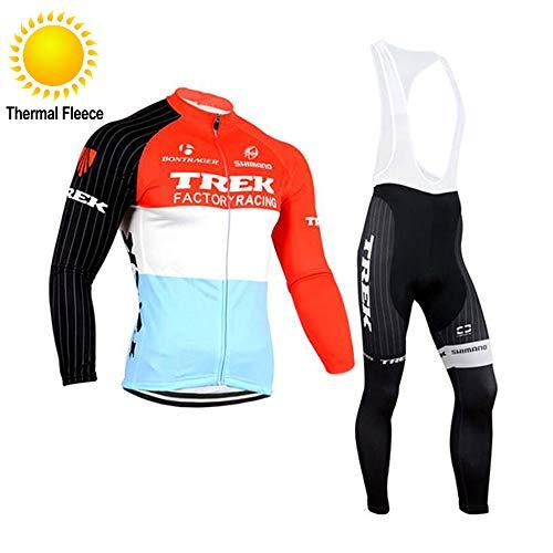 TOPBIKEB Completo Abbigliamento Ciclismo Termico Manica Lunga, Maglia Ciclismo a Maniche Corte e Pantaloncini Imbottiti in Gel Inverno