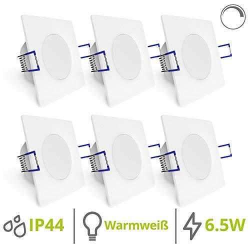 linovum WEEVO 6x Badeinbaustrahler LED dimmbar - 6,5W warmweiß IP44 Wasserschutz - ultra flache & eckige Deckenleuchten 230V