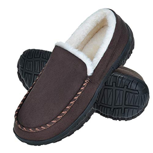 Harebell Mens Slippers Mens Moccasins Indoor Outdoor Plush Lining Bedroom Slippers with Memory Foam Brown 13 M US