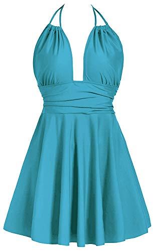 Avacoo Damen Badekleid Einteiler Badeanzug Neckholder Schwimmen Kleid Aqua XL