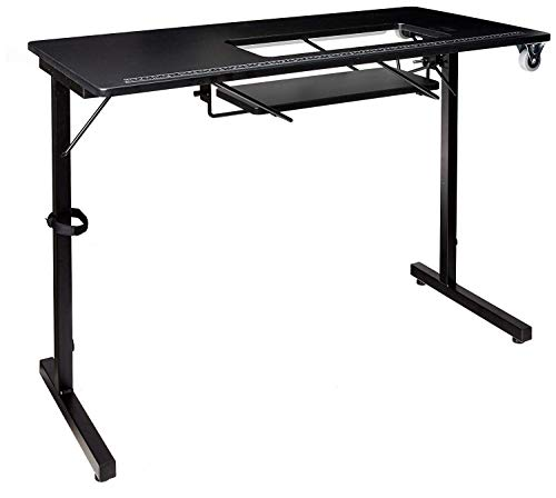 SewStation 101 Portable Folding Sewing Table with Steel Legs by SewingRite, Black - Perfect for Home, Office and Business