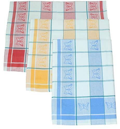 Betz Lot de 3 torchons en Lin mélangé Papillons Taille 50x70 cm Couleur Jaune Bleu et Rouge