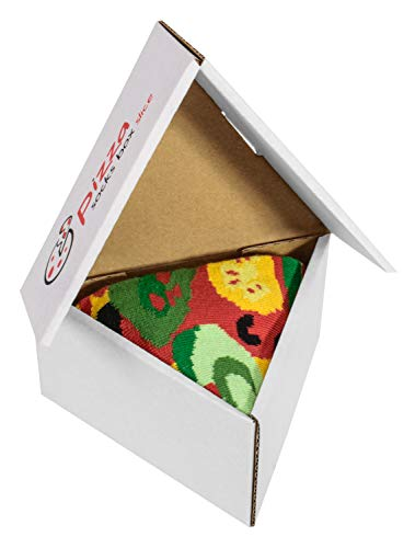Pizza Socks Box Slice Vege - Mujer Hombre - 1 par de Calcetines - Tamaño 41-46