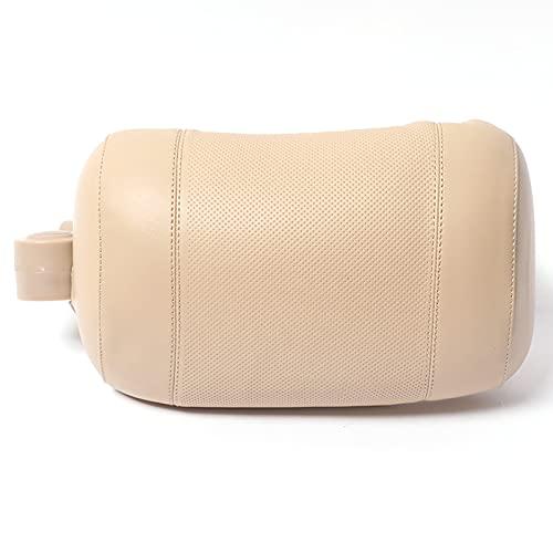 Reposacabezas de Coche Cuello Almohada CojíN Pillow con Espuma ViscoeláStica PU con Soporte Trasero Ajustable para Asiento de Pasajero,Beige