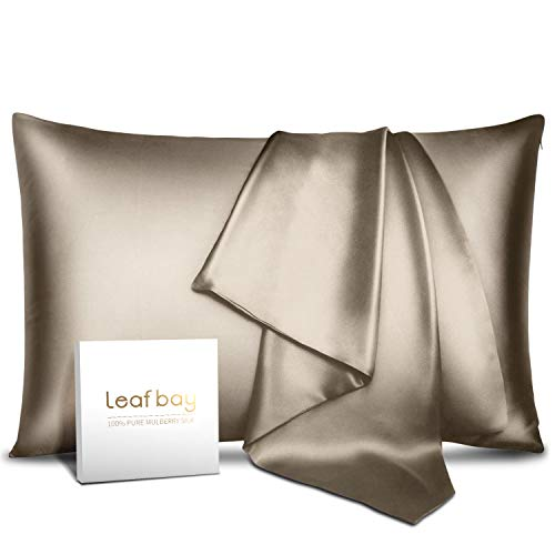100% Pure Mulberry Silk Pillowcase for Hair & Skin -Allergen Proof Dual Sides 19 Momme 600 Thread Count Silk Bed Pillow Cases with Hidden Zipper,1 Piece Queen Size