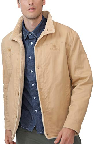 CAMEL Men Fleece Lined Jacket Warm Sherpa Winter Botton Down Borg Collar Coat With Fur Fashion Denim Trucker Outwear