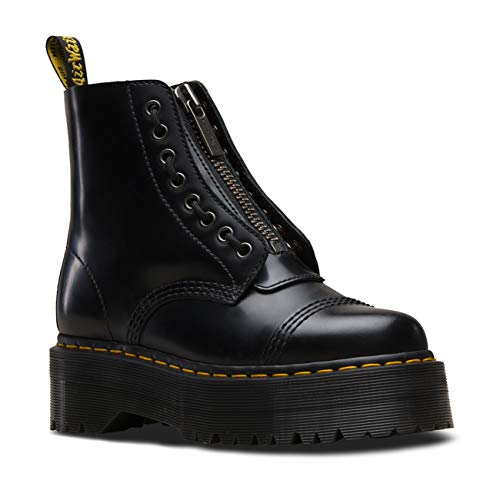 Dr Martens Women's Quad Retro Sinclair Polished Smooth Leather Boot Black-Black-8 Size 8