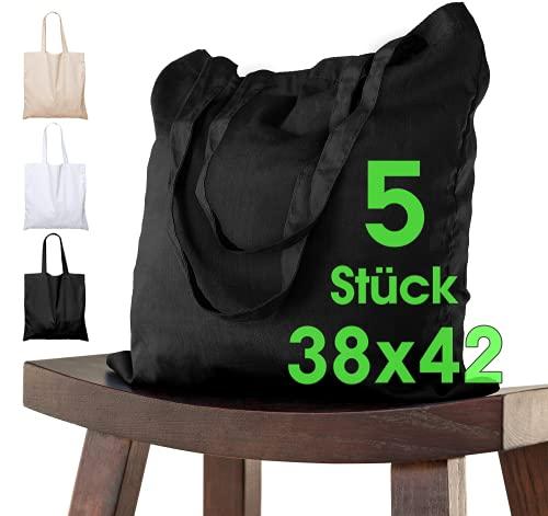 ELES VIDA Bolsa de algodón 38x42 cm 5 piezas sin imprimir, dos asas largas con certificación OEKO-TEX® Bolsa de tela, bolsa de transporte, bolsa de algodón, bolsa de compras, bolsa de yute, Negro