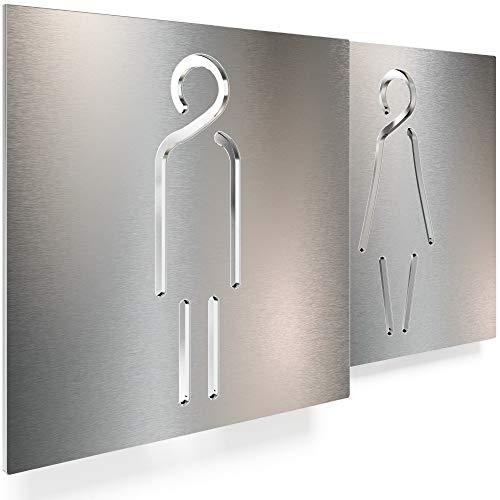 Edelstahl WC-Schilder Set – selbstklebend & pflegeleicht – Design Toiletten-Schilder – T.02.E
