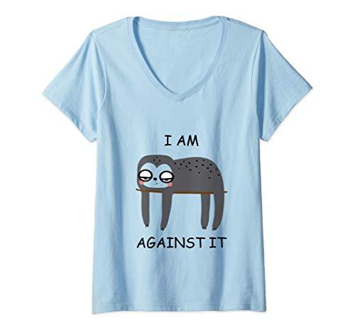 Mujer Diseño divertido adolescente del regalo del perezoso Camiseta Cuello V