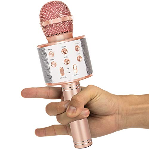 Amolabe Karaoke Microphone, 4-in-1 Wireless Bluetooth Microphone for Singing, Recording, Holiday Birthday Party Home KTV, Portable Handheld Mic for iPhone/Android, Gifts for Kids, Girls, Boys, Adults