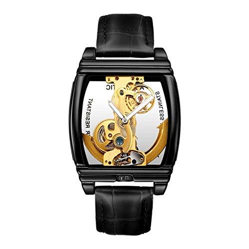 Reloj mecánico de correa de cuero cuadrado, reloj mecánico de acero inoxidable automático de los hombres, reloj de hombre hueco, correa cómoda de cuero, cómodo para usar (para hombres y mujeres),Negro