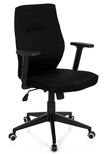 hjh OFFICE 719730 Profi Bürostuhl MATTEO Stoff Schwarz ergonomischer Bürostuhl gepolstert, Armlehnen höhenverstellbar