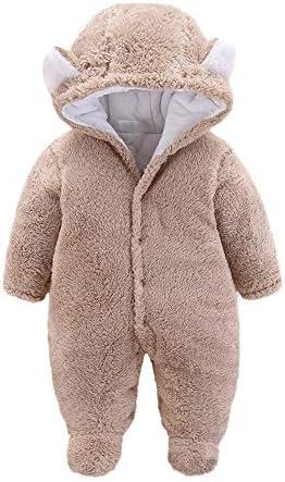 Jungen M/ädchen Dicker Kapuzenpullover Overall Samt Bequem Herbst Hoodies Pullover Einfarbig Neugeborenen Spielanzug SUCES Baby Strampler