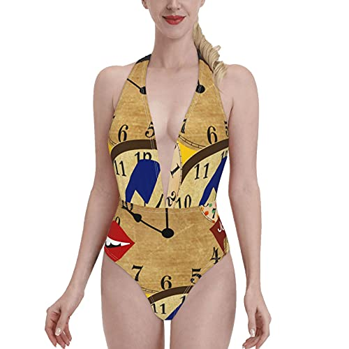Yaosheng Traje de baño de una pieza reloj con labios rojos bikini con cuello en V trajes de baño sin respaldo