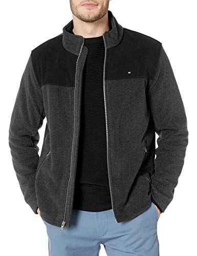 Tommy Hilfiger Men's Classic Zip Front Polar Fleece Jacket, black/Charcoal, L