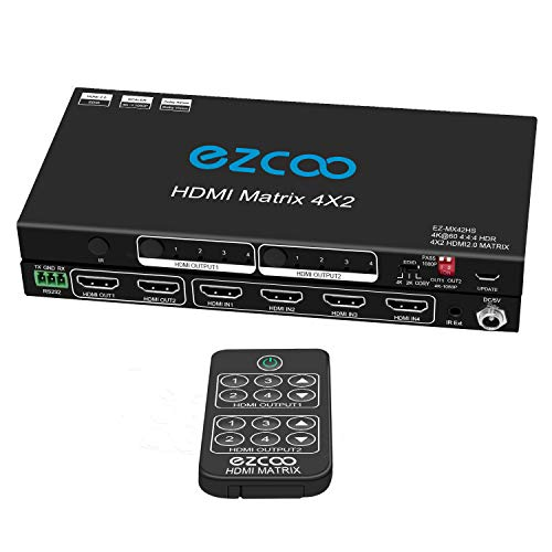 HDMI Matrix 4x2 4K 60Hz 4:4:4 HDR D-o-l-b-y Vision Atmos EDID Scaler Switch - HDMI Scale 4K 1080P, Firmware Upgrade HDCP 2.2 HDMI 2.0 Matrix 4 in 2 Out 18 Gbps, RS232, IR EXT. Fernbedienung, MX42HS