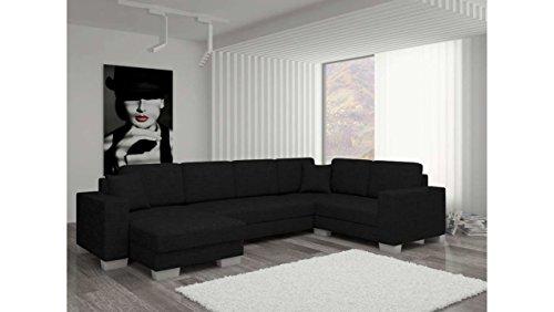 JUSThome Sofá canapé de esquina panorámica Marco Conjunto de salón con tejido estructurado (AxLxA): 145–206x 303x 86cm, negro, L'angle gauche face au canapé