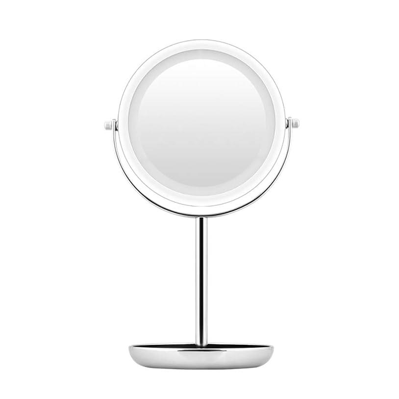 汚れるグラディステストLEDミラーライトバニティ - ライトLED化粧鏡、5倍拡大鏡、360度回転二重鏡で照らされた