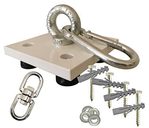 Weisse Profi Boxsack Halterung, Deckenhalterung, Deckenhalter mit Drehgelenk aus Edelstahl, Schrauben und Dübeln