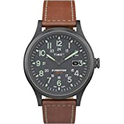 Timex Men's TW4B18400 Expedition Scout Solar 40mm Brown/Gunmetal Leather Strap Watch