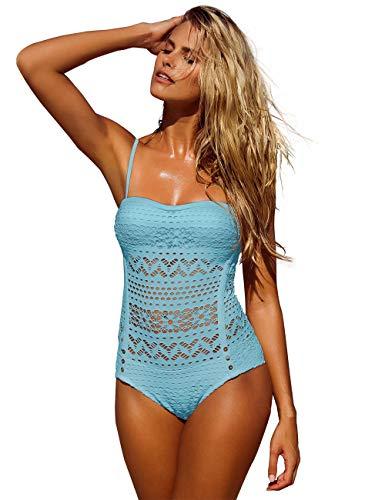 LookbookStore Women's Crystal Seas Crochet Lace Halter Straps Swimsuits Swim Bathing Suit US 12