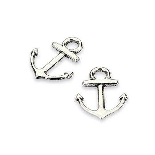 LolliBeads (TM) Vintage Antiqued Silver Tone Bracelet Connector Anchor Charms - 50 Pcs