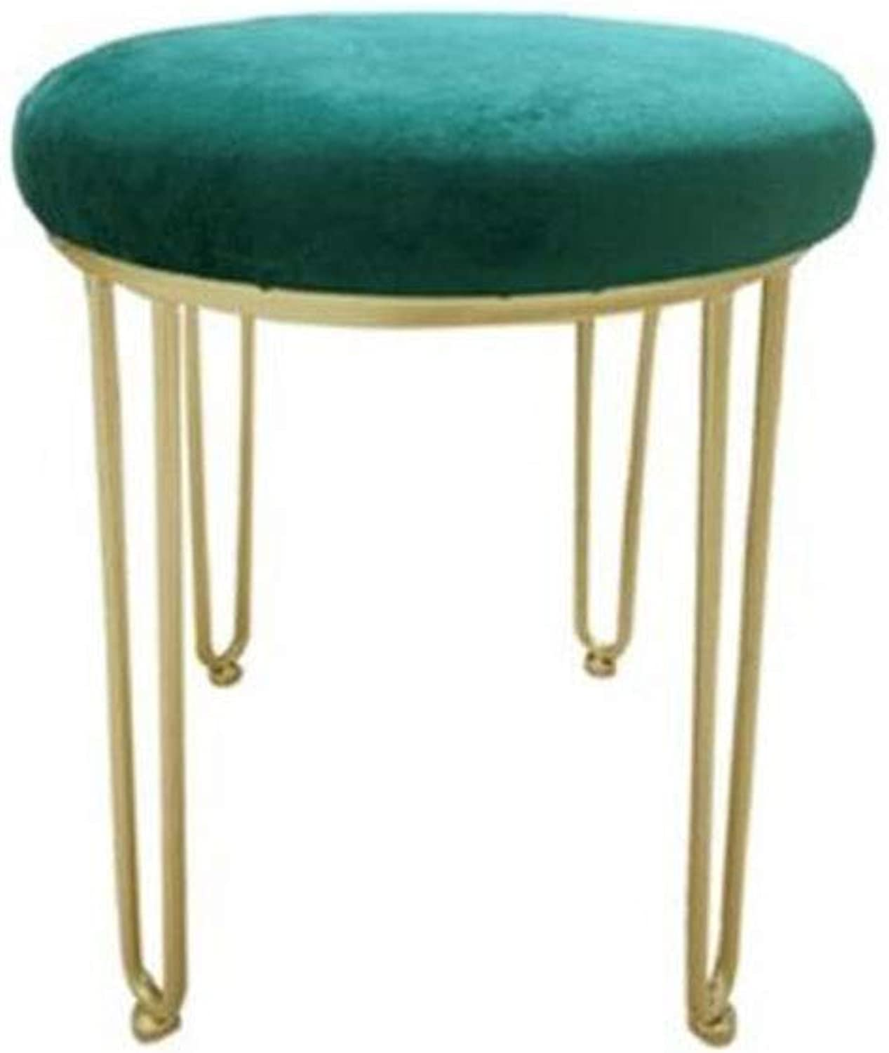 YCSD Nordic Creative Upholstered Vanity Stool Makeup Stool Princess Stool Bedroom Footstool Sofa Stool Dressing Chair Fitting Room Change shoes Bench (color   Green)