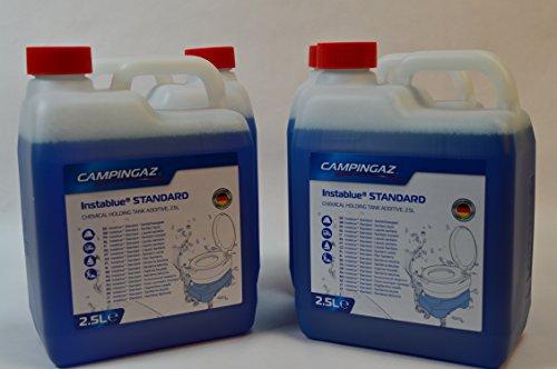4 Kanister CAMPINGAZ a 2,5L (Gesamtmenge: 10L) Instablue® Standard Sanitärflüssigkeit für Chemietoiletten Toilette Chemietoilette Toiletten Camping Wohnwagen Wohnmobil