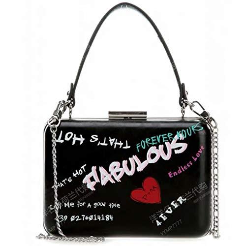 Pinko Damen Love Crossbody Tasche, Neue Graffiti Damen Umhängetasche, feine Verarbeitung, einfach zu kombinieren, Damen Handtaschen und Geldbörsen, Schwarz - Schwarz - Größe: Large