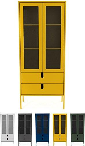 tenzo 8565-029 UNO Designer Vitrine 2 Portes, 2 tiroirs, Moutarde, MDF Particules ép. 19 et 16 mm Panneau arrière laqué. Poignées en matière Plastique, 178 x 76 x 40 cm (HxLxP)