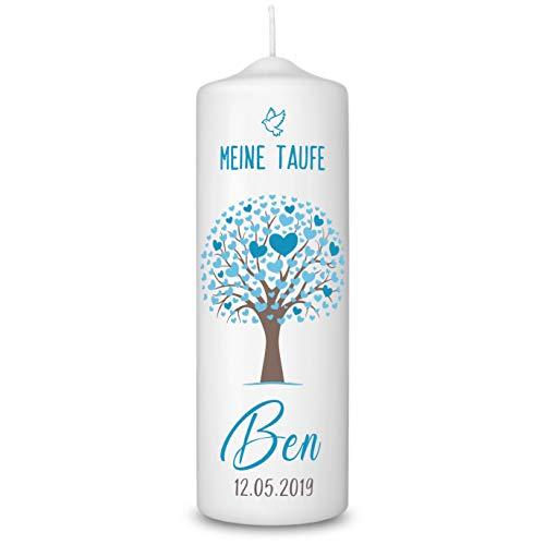 Taufkerze in Weiß personalisiert - 360° Druck mit Namen und Datum - Geschenk zur Taufe - Taufgeschenke für Mädchen und Jungen mit Taufspruch inkl. Aufbewahrungsbox - Baum Türkis