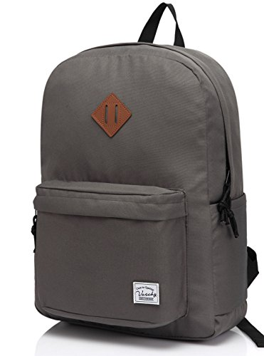 School Backpack, Vaschy Lightweight 20 Liters Rucksack Classic Water Resistant Collapsible Daypack for Camping and Hiking, School Book Bag with Bottle Pockets, Dark Gray