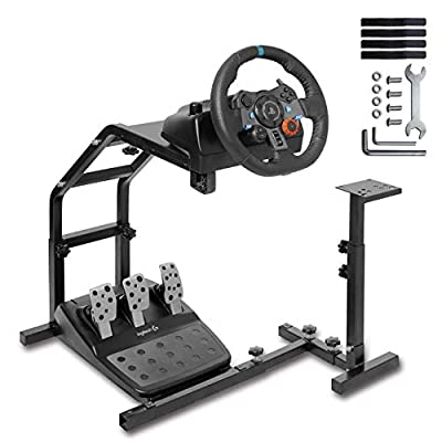 Minneer Racing Wheel Stand with V2 Support Game Support Stand Up Simulation Driving Bracket for Logitech G29, G27 and G25 Racing Simulator Steering Wheel Stand Without Wheel and Pedals