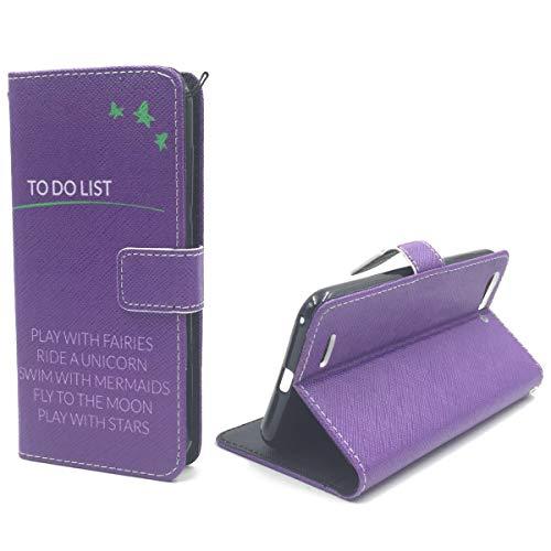König Design Handyhülle Kompatibel mit ZTE Blade V6 Handytasche Schutzhülle Tasche Flip Hülle mit Kreditkartenfächern - to Do List Violett