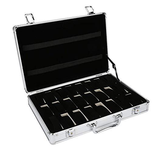 SODIAL Caja Maleta de Aluminio de 24 Rejillas Caja de Almacenamiento de Exhibición Caja Estuche de Almacenamiento para Reloj Soporte de Reloj Caja de Reloj